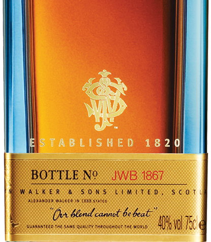 big bottle of johnnie walker blue label