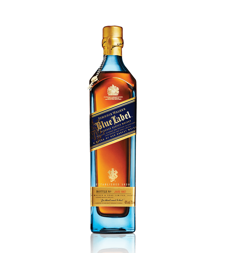Bottle of Johnnie Walker Blue Label whisky