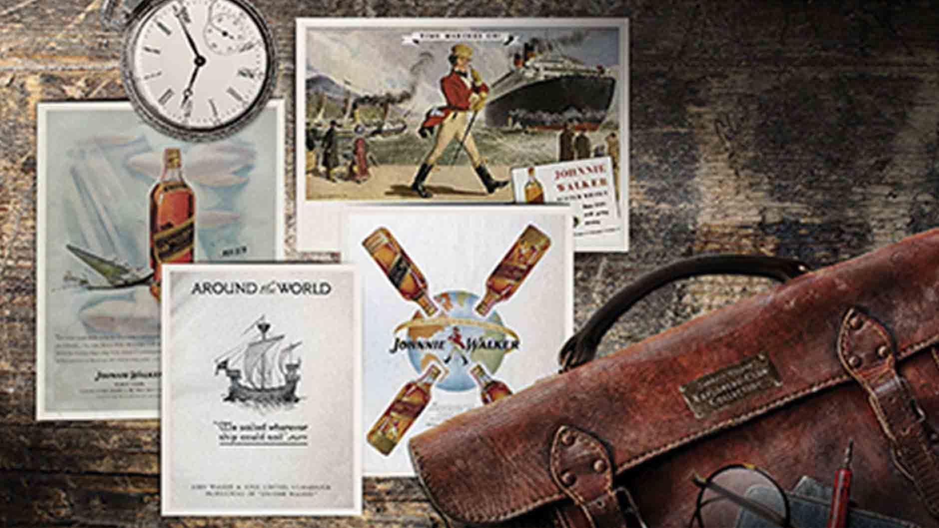 Around the world poster for Johnnie Walker Explorers' Club Collection