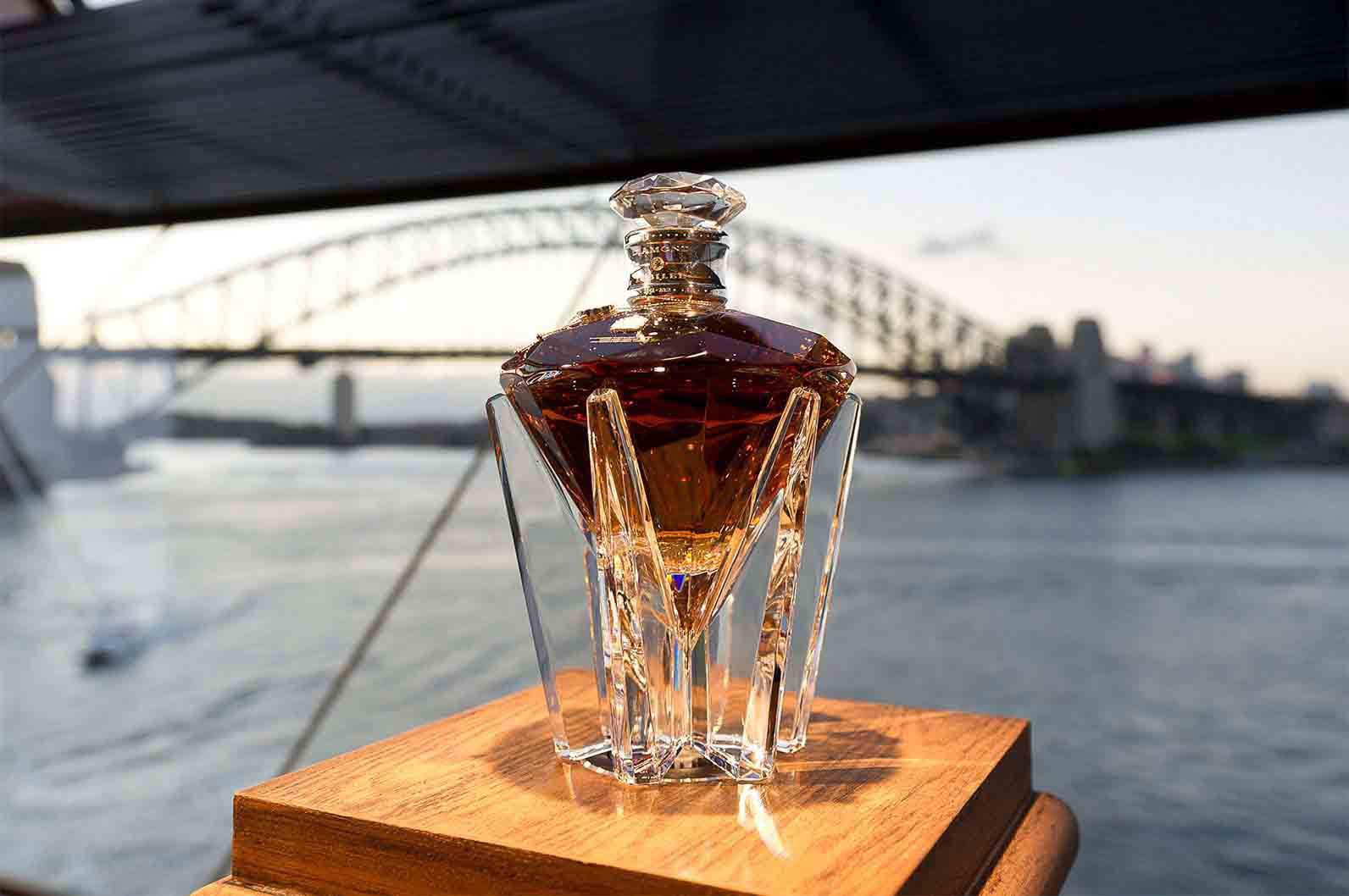 Bottle of John Walker & Sons Diamond Jubilee whisky with Syndey Harbour bridge in the background