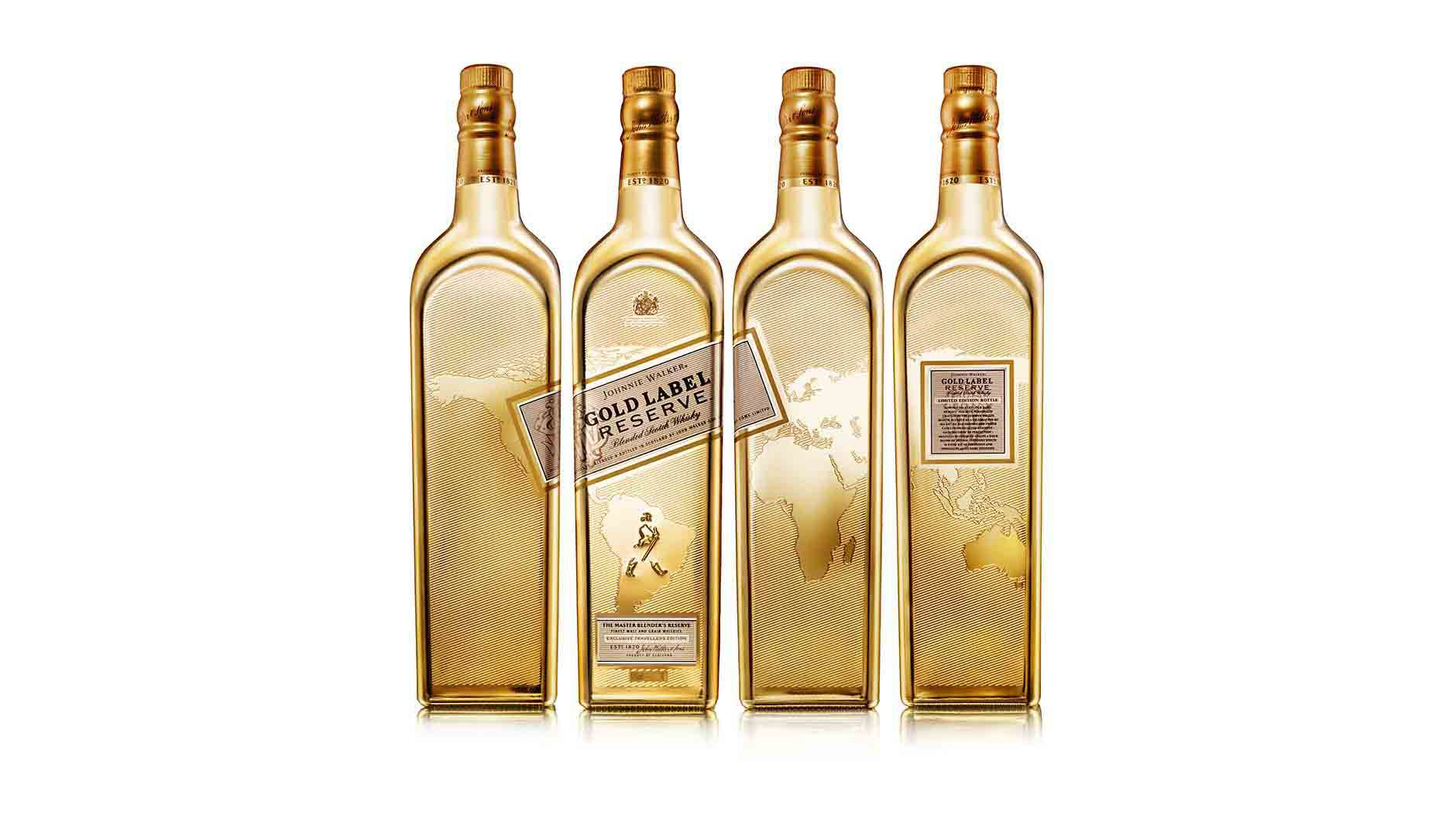 Four sides of Johnnie Walker Gold Label Reserve Limited Edition whisky bottle