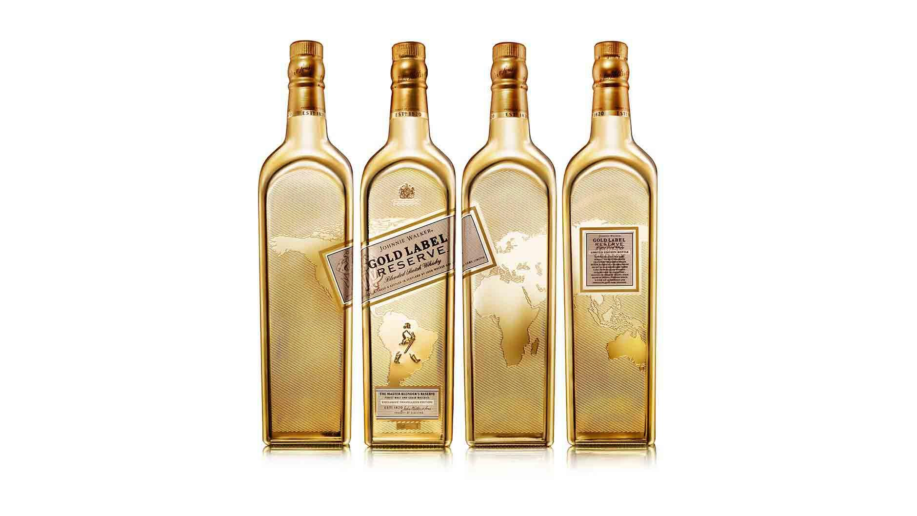 Vier zijden van een fles Johnnie Walker Gold Label Reserve Limited Edition whisky