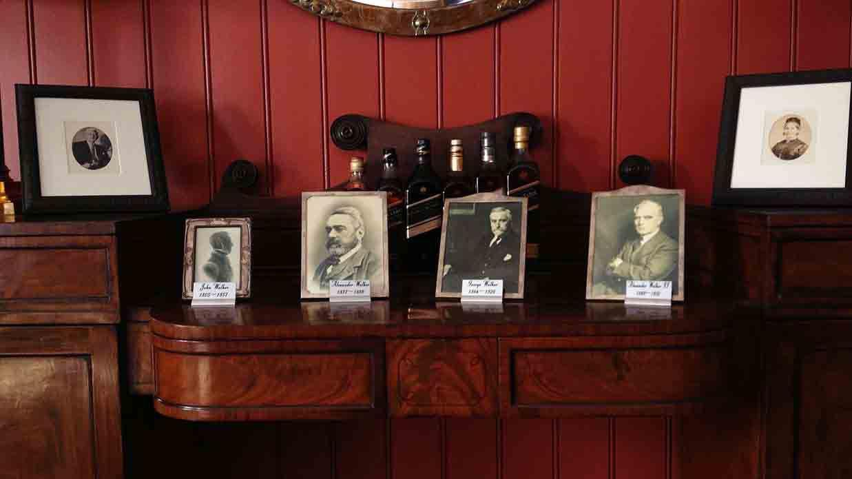 Framed pictures of John Walker, Alexander Walker, George Walker and Alexander Walker II