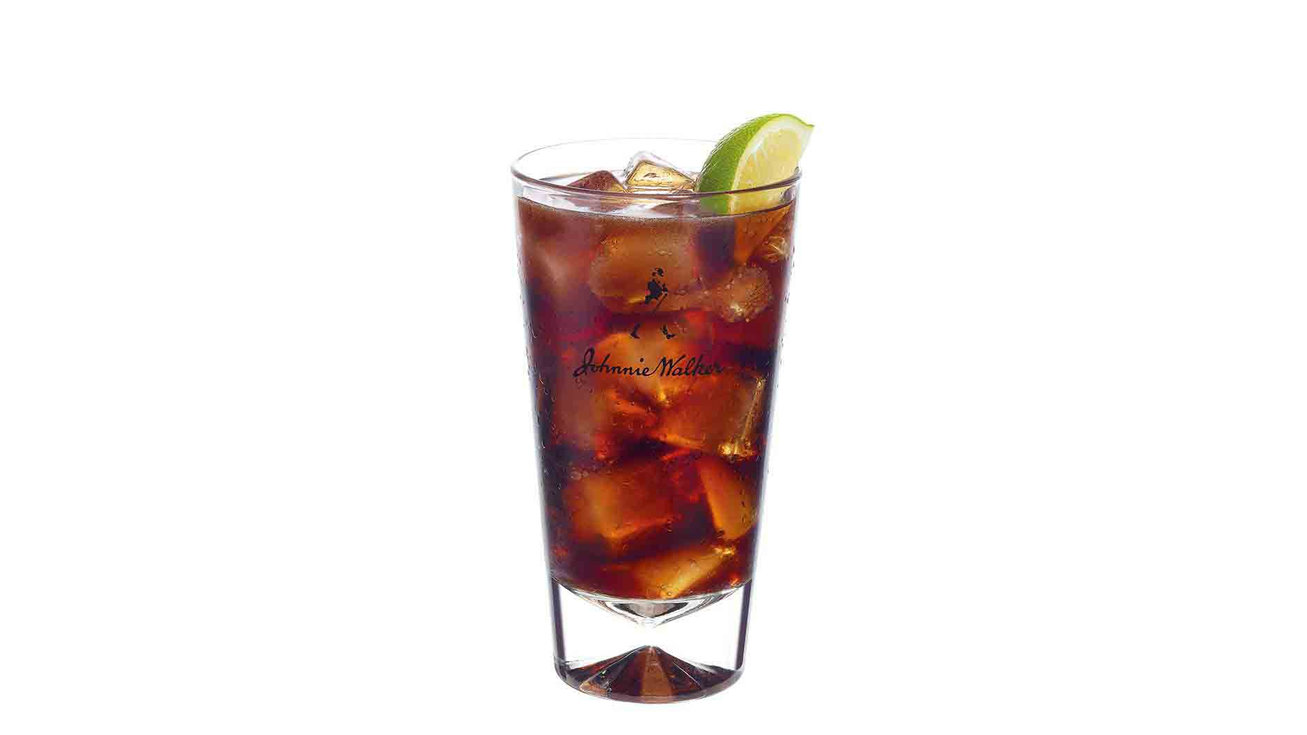 Johnnie Walker Black and Cola cocktail in a tall glass