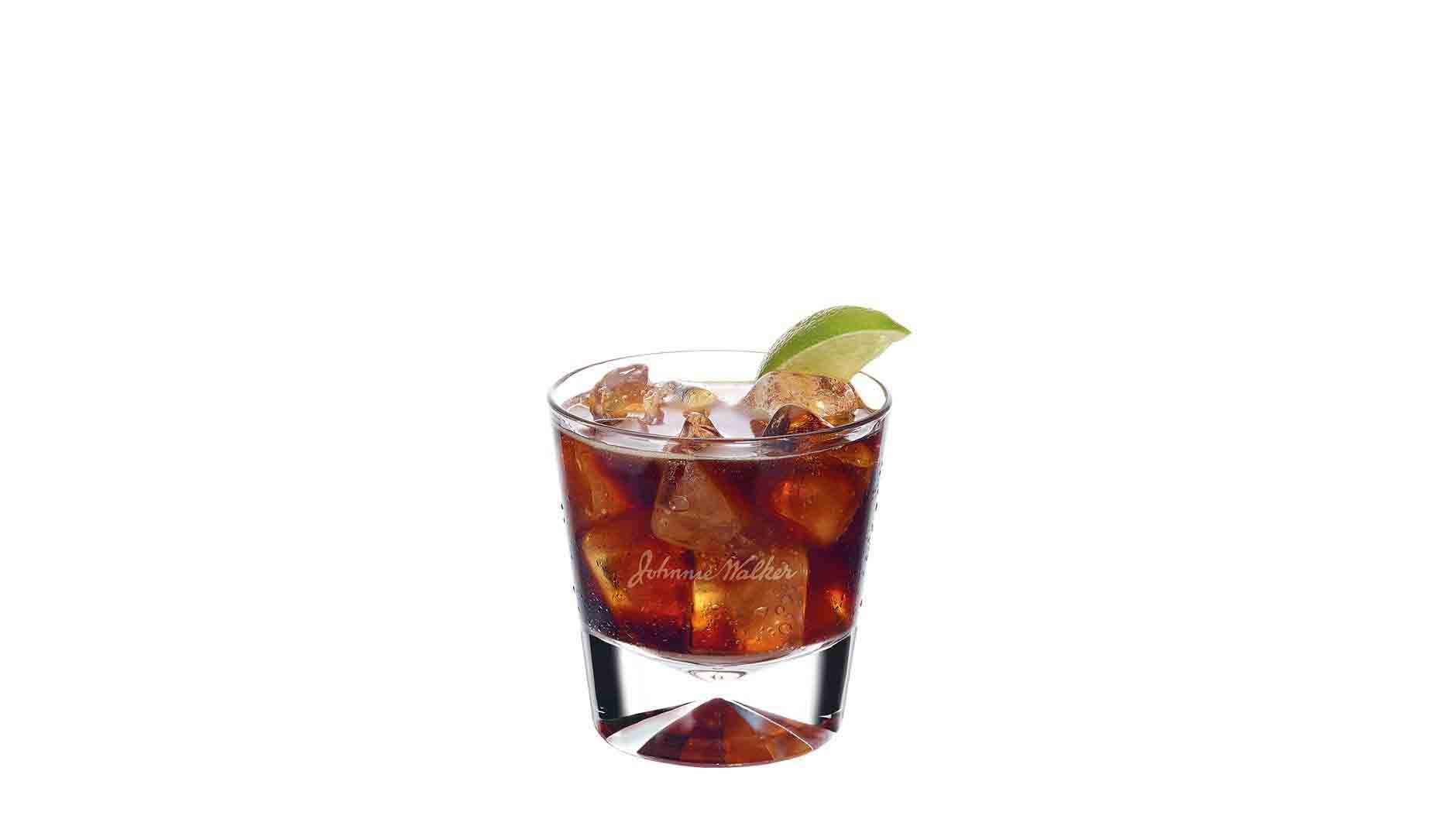 Johnnie Walker Red & Cola cocktail in a tumbler