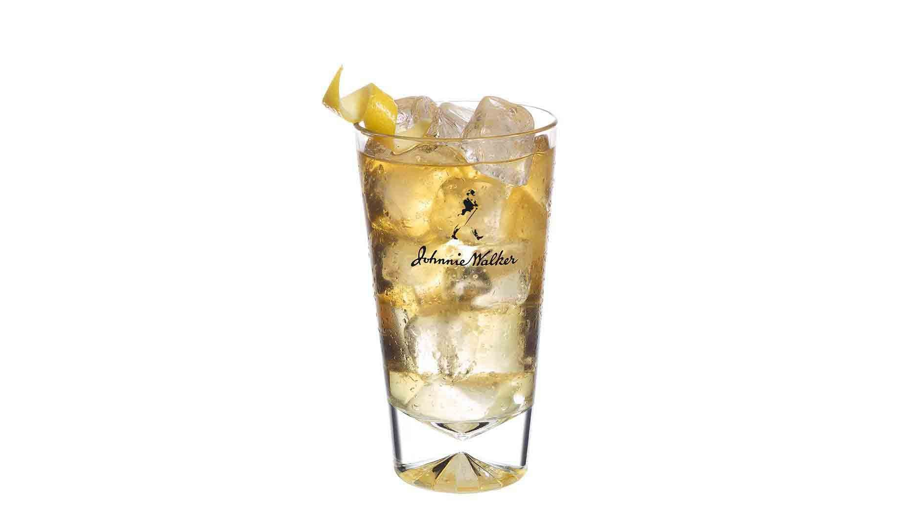 Johnnie Walker Red Lemon Serve  cocktail in a tall