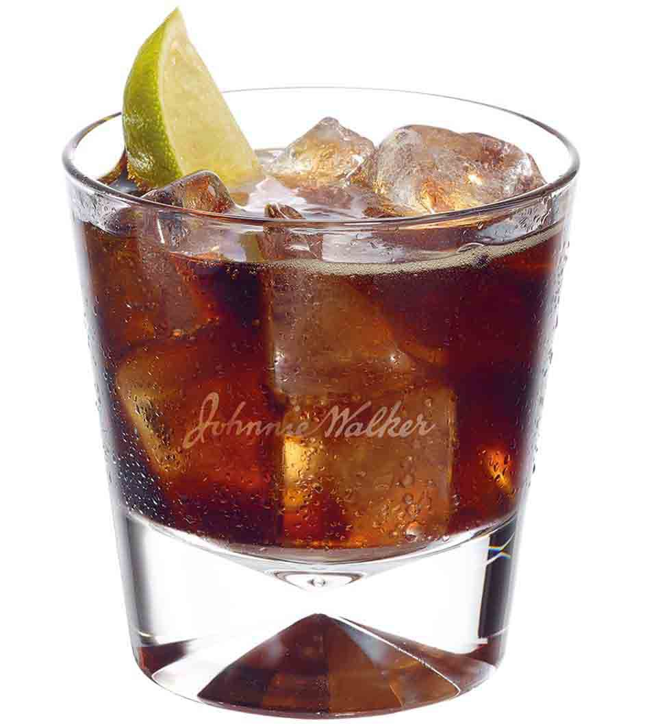 Johnnie Walker Black and Cola cocktail in a tumbler