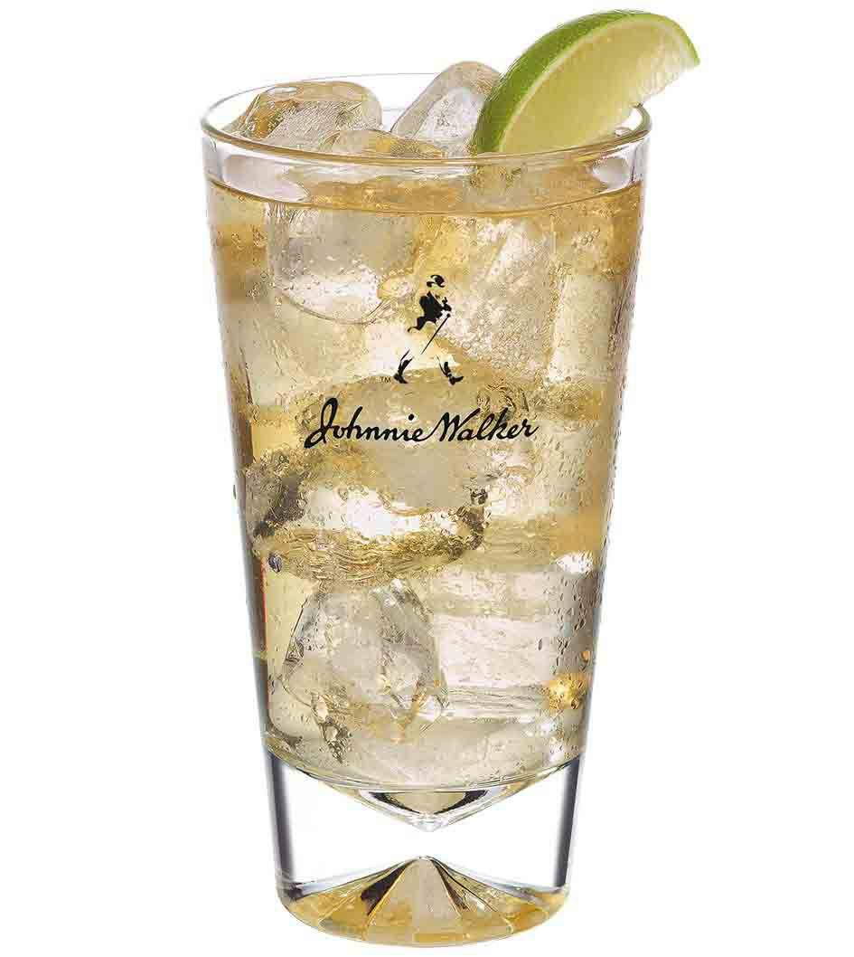 Johnnie Walker Black and Soda cocktail in a tall glass