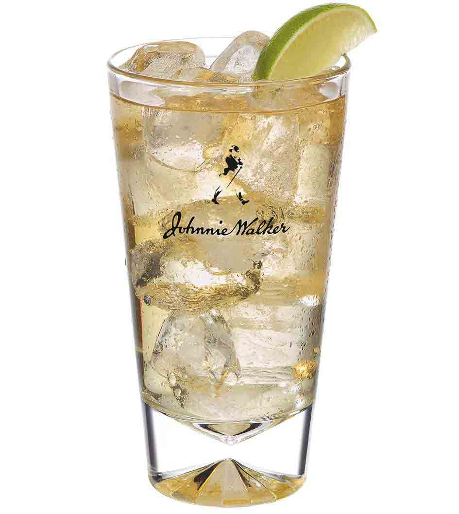 Johnnie Walker Double Black and Soda cocktail in a tall