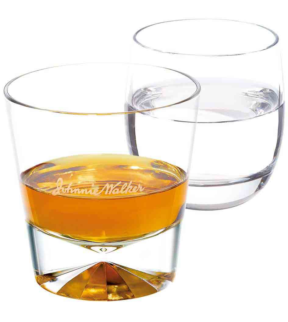Johnnie Walker Double Black with Water in a tumbler