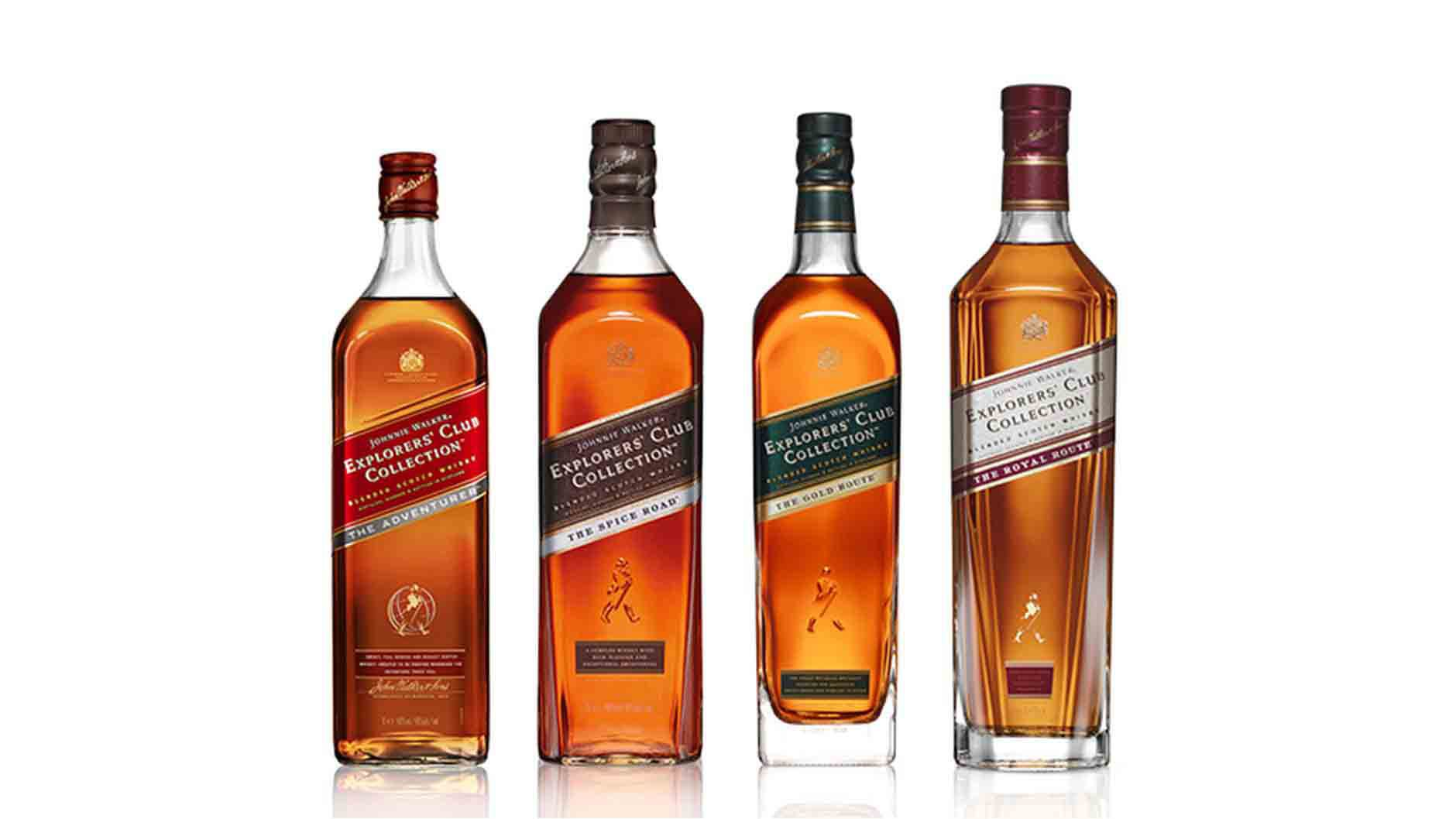 Bottles of Johnnie Walker Explorers' Club Collection whisky range