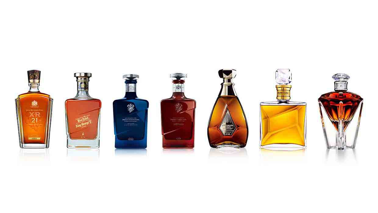 Bottles of John Walker & Sons whisky range