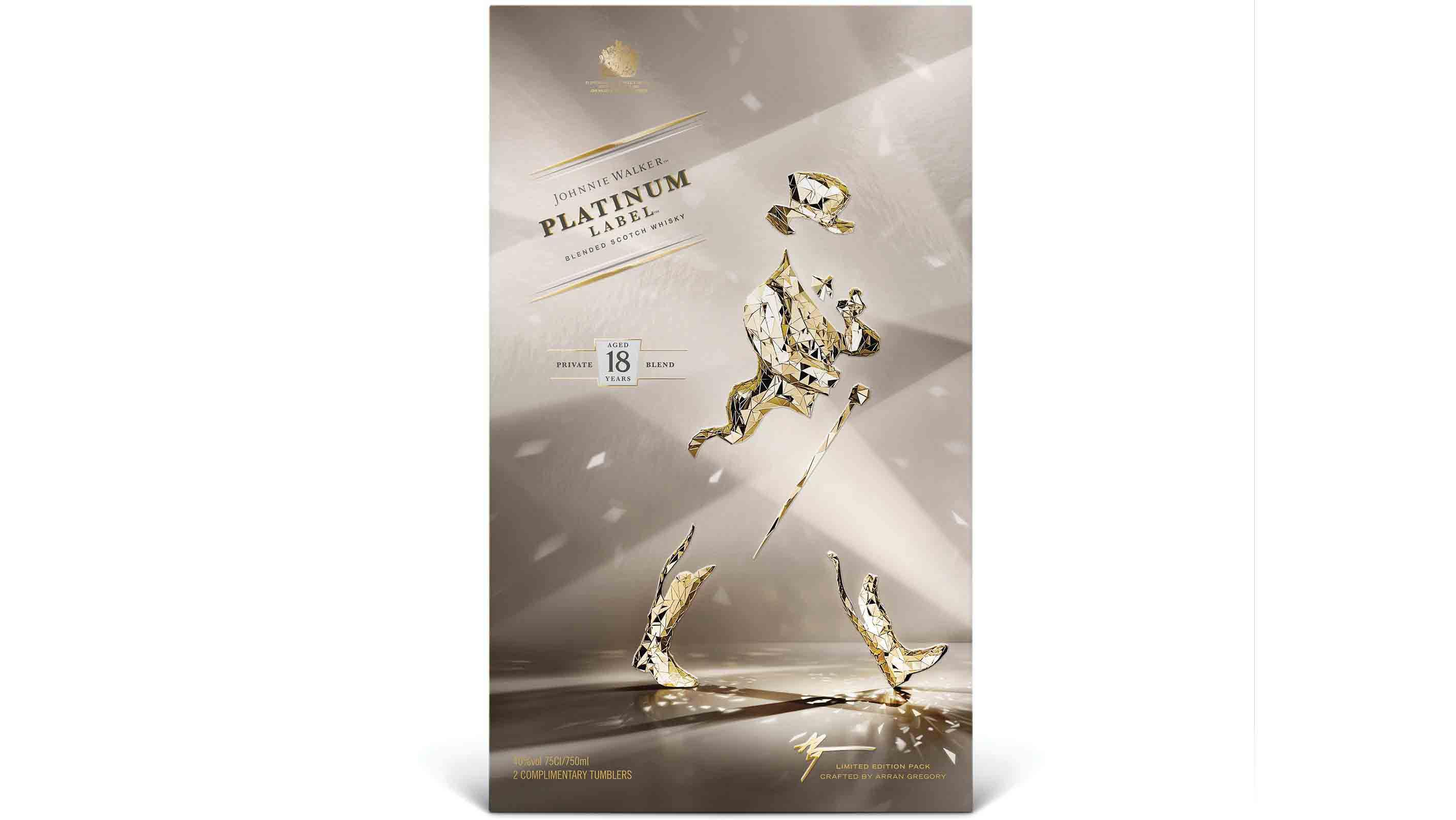 Pack de Johnnie Walker Platinum 18 Year Old Limited Edition diseñado por Arran Gregory